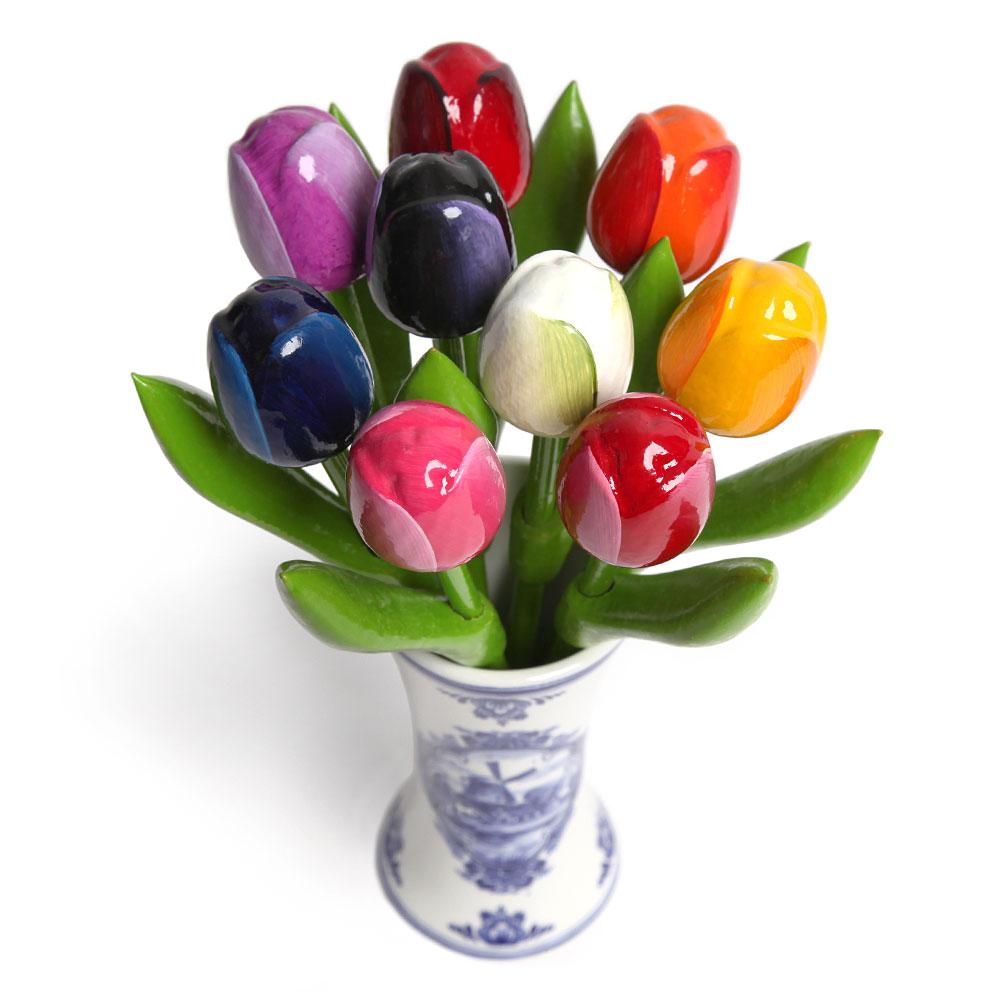 9 small tulips in a delft blue vase houten tulpen van nijhuis houten tulpen in gemengde kleuren rose in een reviewsmspy