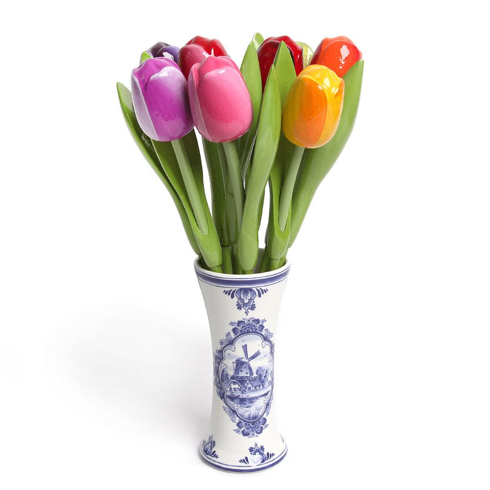 Tulpen Op Vaas.9 Grote Tulpen In Een Delfts Blauwe Vaas